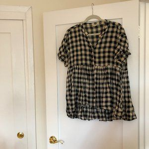 Anthropologie Oversized Plaid Linen Top
